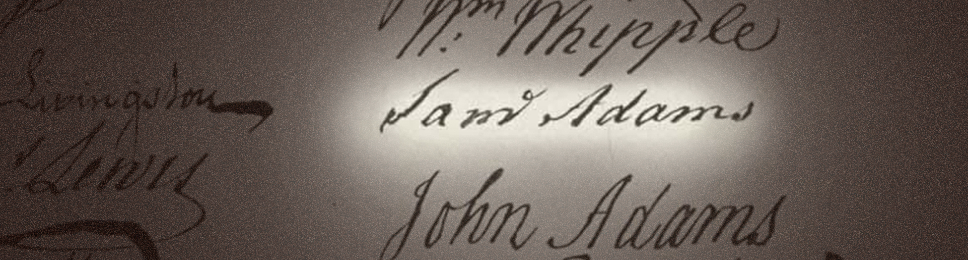 Close up of Sam Adams Signature
