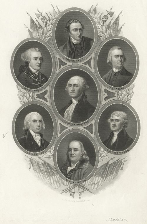 Portraits of Patrick Henry, John Hancock, George Washington, Sam Adams, James Madison, Thomas Jefferson and Benjamin Franklin.