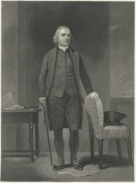Engraving of Samuel Adams in the Old South Meeting House