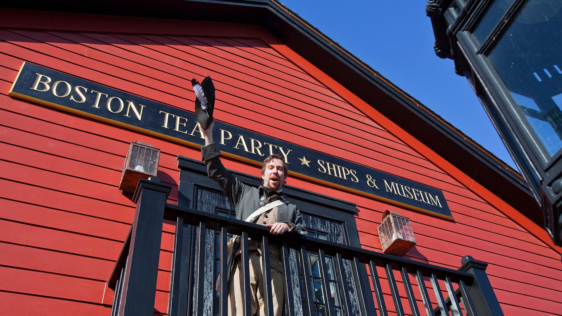 Boston Tea Party Ships museum reenactor in balcony