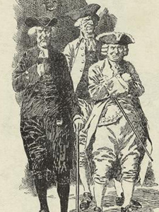Sketch of men after the Boston Tea Party