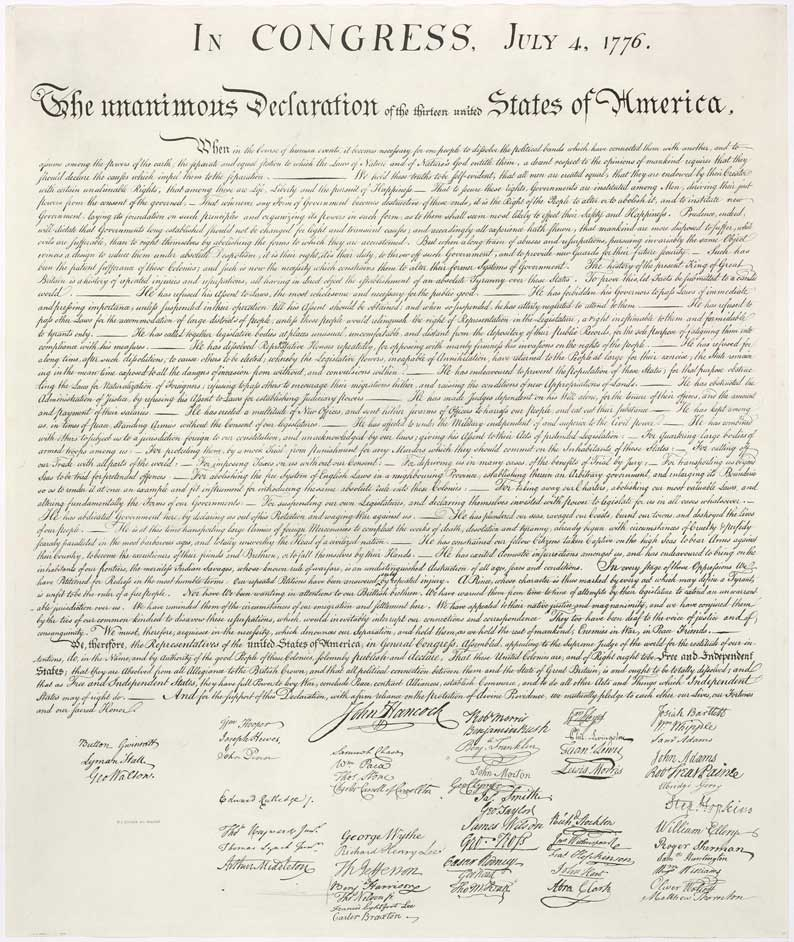 The Declaration of Independence, 1776. New York Public Library.