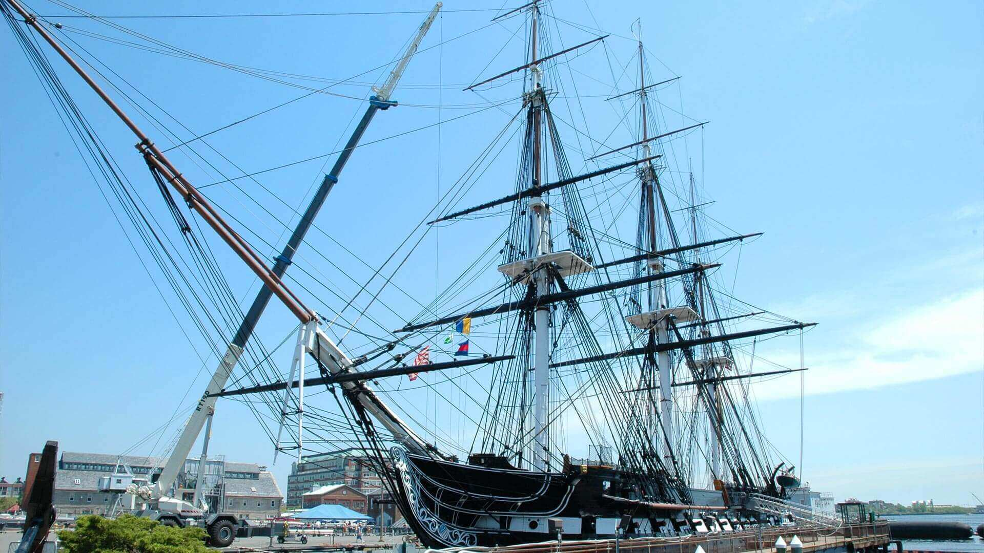 Side view of the USS Constitution in Boston