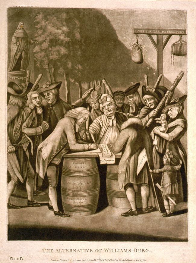 The Alternative of Williamsburg, 1775, Emmet Collection of Manuscripts. New York Public Library.