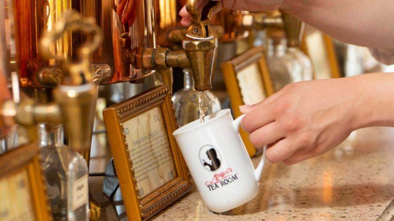Pouring tea at abigails tea room