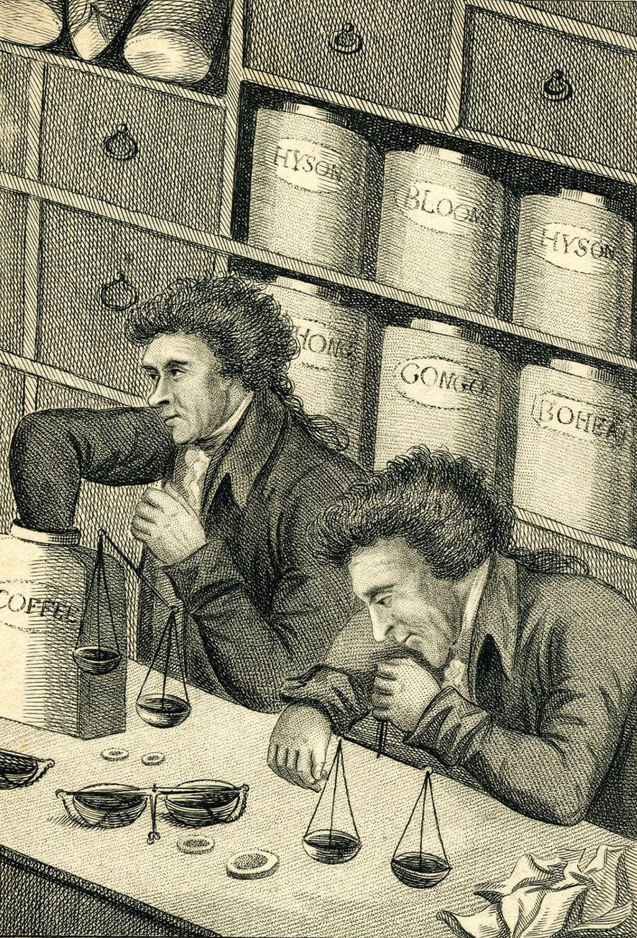 Men weighing coffee beans