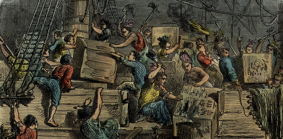 Engraving of Bostonians deconstruction the tea in the Boston Harbor