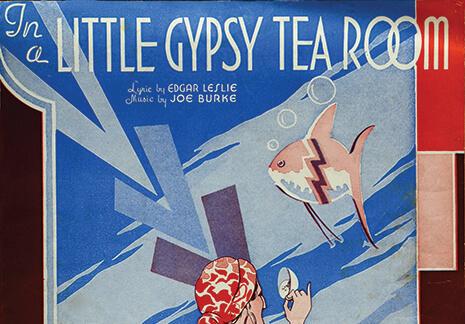 Cartoon of a gypsy reading tea leaves