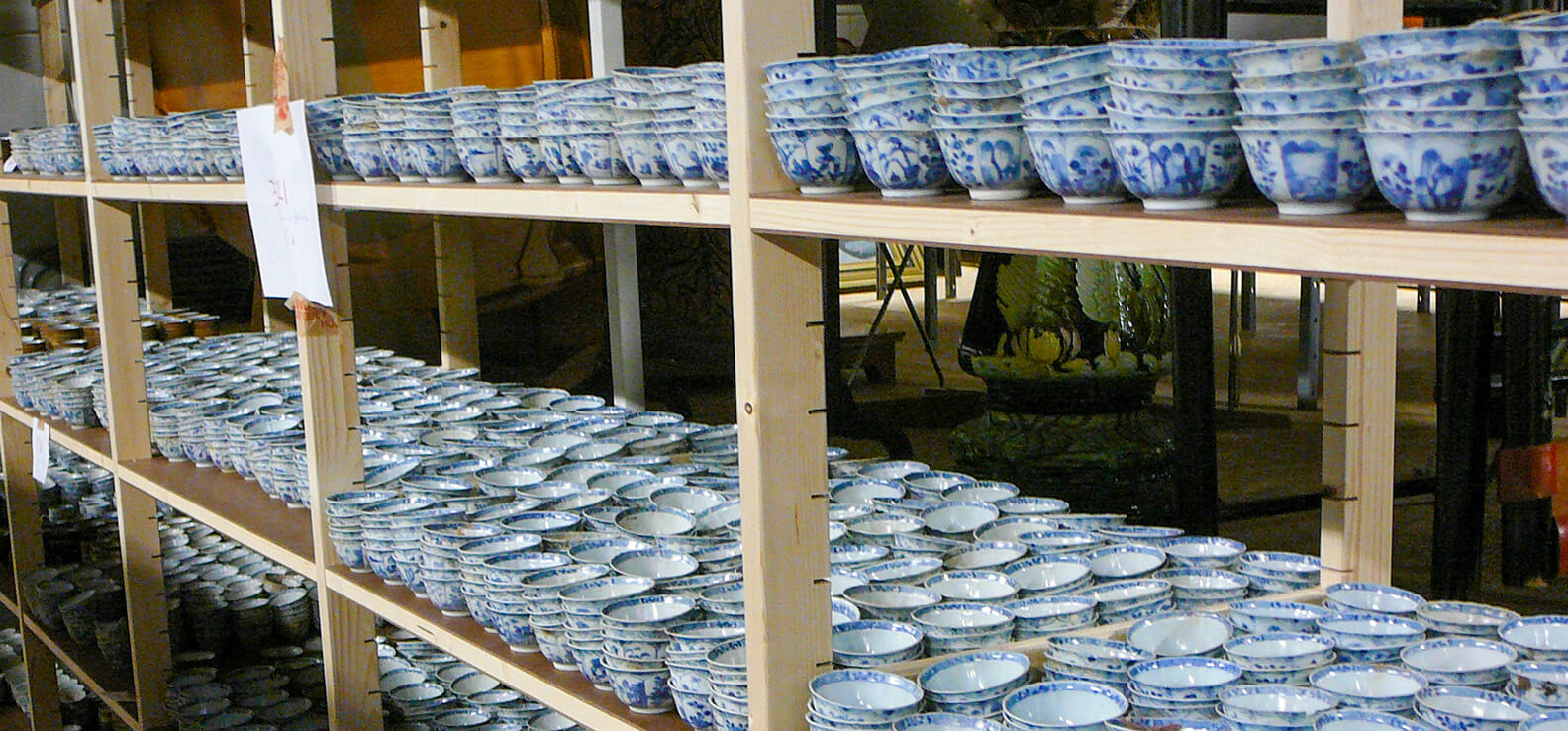 Shelved covered in tea ware from China