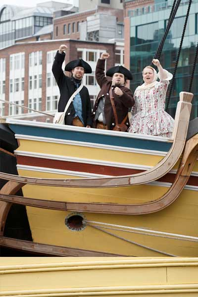 Re-enactment of patriots on a boat