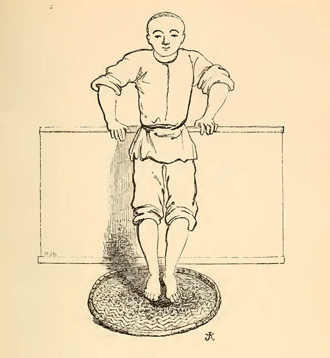 Illustration of tea rolling with feet