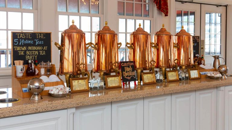 Tea tasting station at the Boston Tea Party Ships Museum