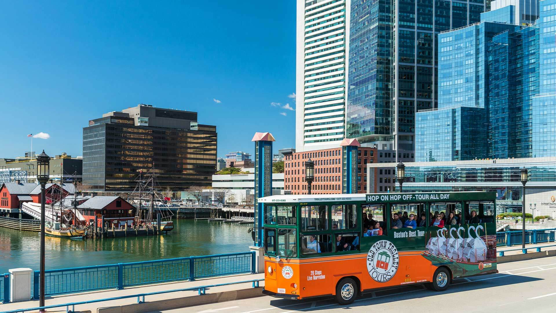 Scenic view of Old Town Trolley in Boston
