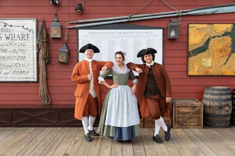 Boston tea party cast outside the museum