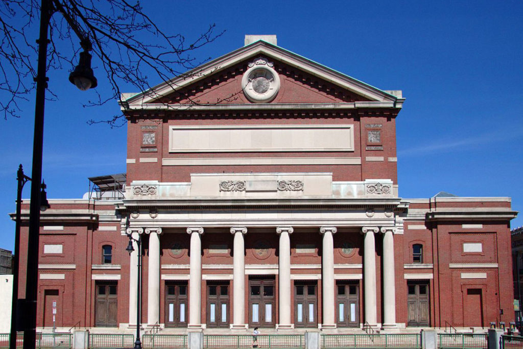 Boston Symphony Hall exterior made of brick and concrete columns during this winter season