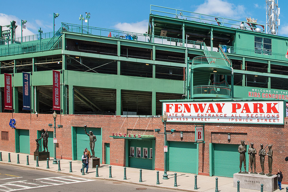 Picture of exterior of historic ballpark in Boston with a sign that reads 'FENWAY PARK, GATE B, ENTRANCE ALL SECTIONS, AN NESS STRET, IPSWICH STREET'