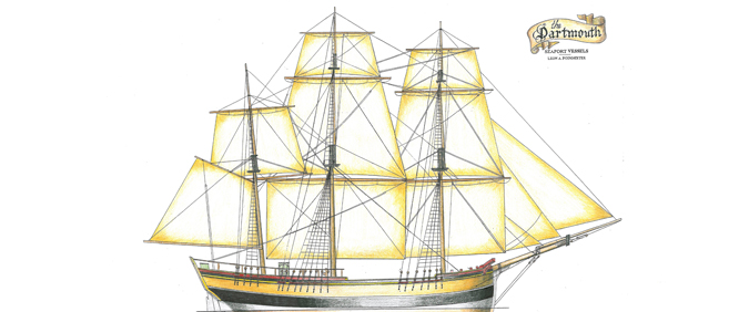 Drawn picture of a Boston Tea Party Ship