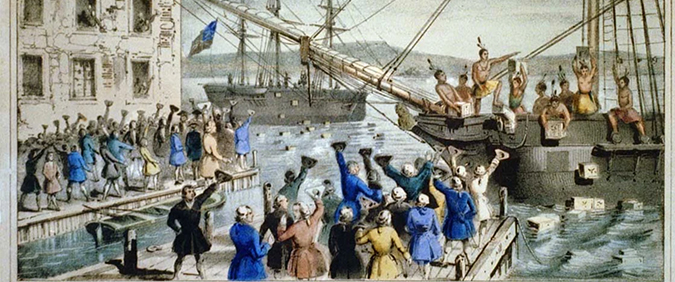 drawing of the ships dumping tea at the boston tea party