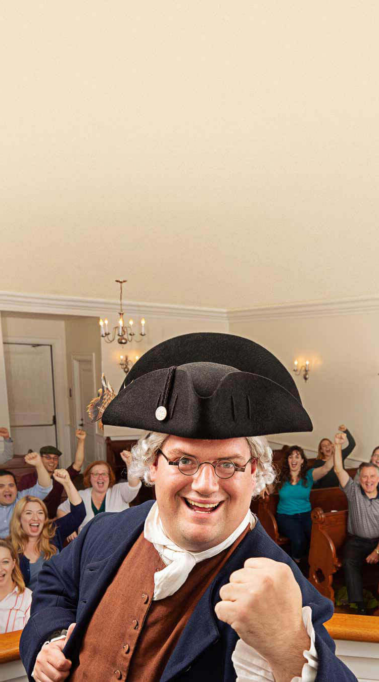 Re-enactor in the meeting house