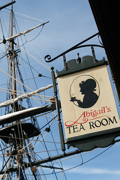 abigails tea room sign outside of the boston tea party ships and museum