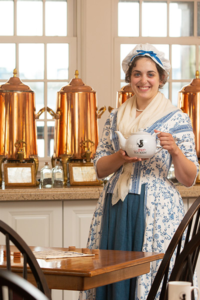 re enactor inside abigails tea room at the boston tea party ships and museum