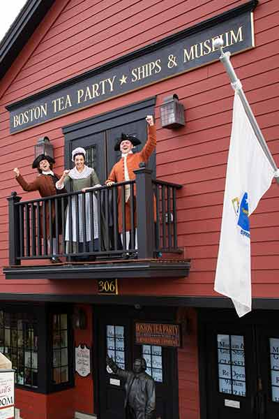 reenactors outside of the boston tea party ships and museum